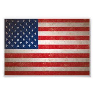Sm. Tryck för foto för amerikanska flaggan för vin