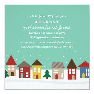 Små Hus Julpartyinbjudningar Fyrkantigt 13,3 Cm Inbjudningskort