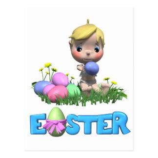 Småbarn firar hans första påsk vykort