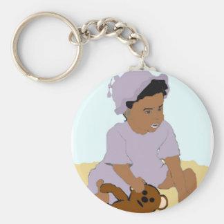 Småbarn och nalle Keychain Rund Nyckelring