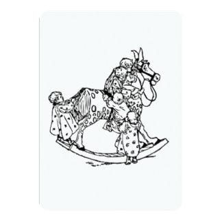 Småbarn på en vagga häst 12,7 x 17,8 cm inbjudningskort