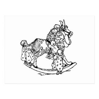 Småbarn på en vagga häst vykort