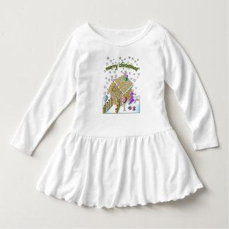 Småbarn rufsar klänningen, god jul tröjor