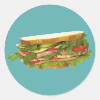 Smaklig smörgås runt klistermärke