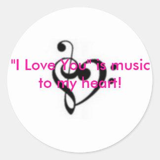 """small_467172 """"älskar jag dig"""" är musik till min runt klistermärke"""