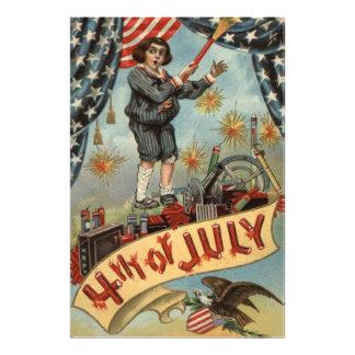 Smällare för fyrverkerier för US-flaggabarn Fotokonst