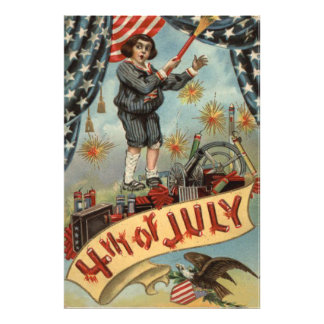 Smällare för fyrverkerier för US-flaggabarn Fototryck
