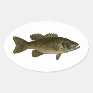 Smallmouthbaslogotyp Ovalt Klistermärke