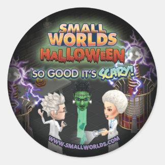 SmallWorlds Halloween Frankenstein klistermärkear Runt Klistermärke