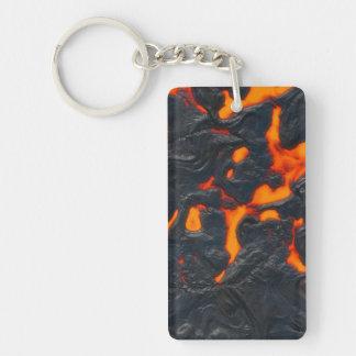 Smält Lava Rektangulärt Dubbelsidigt Nyckelring I Akryl