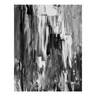 """""""Smältte"""" det svartvita abstrakt Poster"""