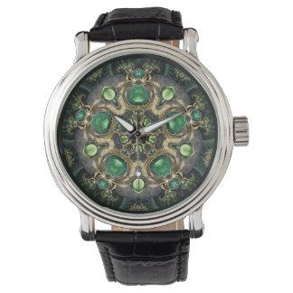 Smaragd- och guldKaleidoscope Armbandsur