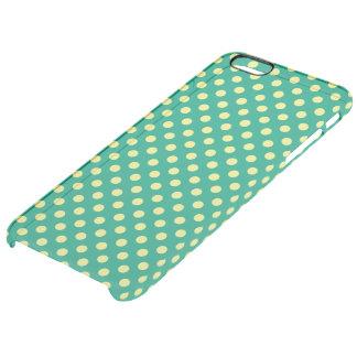 Smaragdgrönt med gul polka dots clear iPhone 6 plus skal