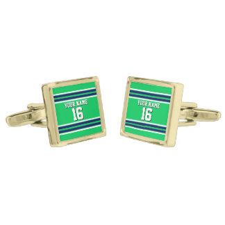 Smaragdgrönt med marinvit görar randig laget guldpläterade manschetterknappar