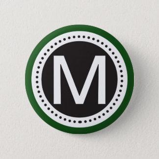 smaragdgrönt- och vitmonogramen knäppas standard knapp rund 5.7 cm