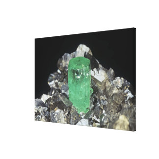 Smaragdkristall i Calcite, Colombia, södra Americ Canvastryck