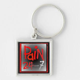Smärta 24/7 knäppas emblem - kronisk osynlig sjukd fyrkantig silverfärgad nyckelring
