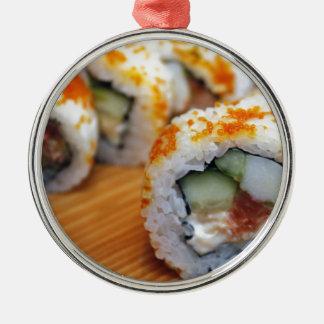 Smaskig japansk läcker asiatisk mat för Sushi Julgransprydnad Metall