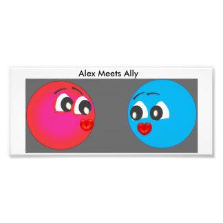 Smiley Alex och bundsförvant med kyssande läppar Fototryck