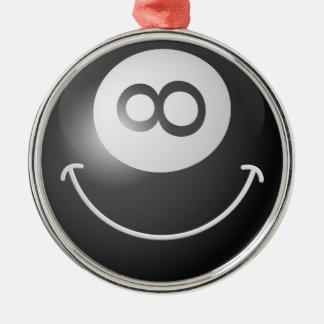 Smiley face för 8 boll rund silverfärgad julgransprydnad