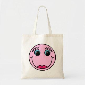 Smiley face för rosa dam tygkasse