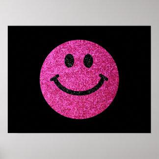 Smiley face för shock rosafauxglitter poster
