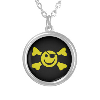 Smiley Jolly Roger Silverpläterat Halsband