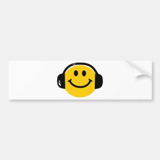Smiley med hörlurar bildekal