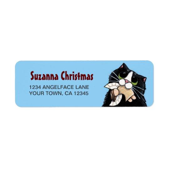 Smokingkatt & etikett för julängelreturadress returadress etikett
