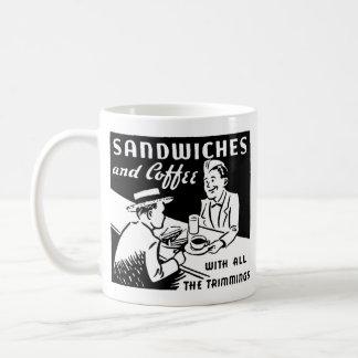 Smörgåsar och kaffe vit mugg