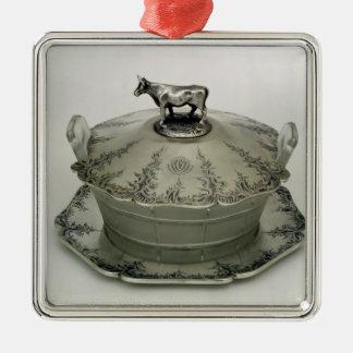 Smörmaträtten med ett frostat exponeringsglas julgransprydnad metall