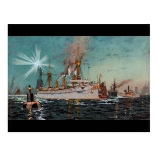 SMS Kaiserin Augusta som lämnar New York vid Vykort