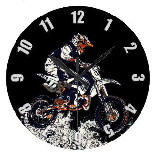 Smuts-Cykel för flygkickMotocross Racer Stor Klocka