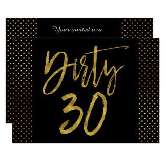 Smutsa ner 30 som guld omkullkastar 12,7 x 17,8 cm inbjudningskort