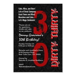 Smutsa ner den röda mallen G20 trettio födelsedag 12,7 X 17,8 Cm Inbjudningskort