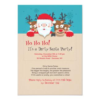 Smutsa ner den Santa partyinbjudan 12,7 X 17,8 Cm Inbjudningskort