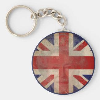 Smutsa ner den Storbritannien flagga Keychain med  Rund Nyckelring