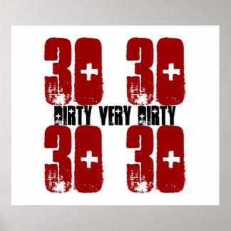 Smutsa ner trettio affischGrunge röda 2 för 30 föd Affisch