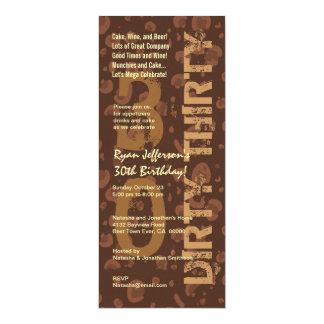 SMUTSA NER TRETTIO högväxt födelsedag chokladkaffe 10,2 X 23,5 Cm Inbjudningskort