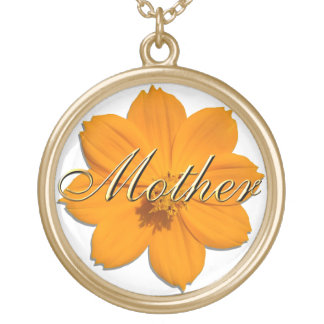 "Smycken - halsband - orange kosmos ""mor "","