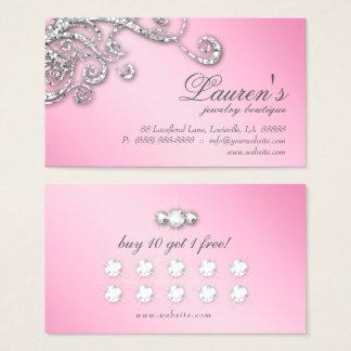 Smycken virvlar runt rosa diamanter för visitkort