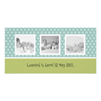 Snabbt födelsemeddelande med gullig polka dots fotokort