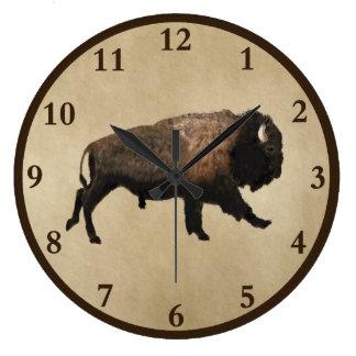 Snabbt växande Bison på gammalt papper Stor Klocka