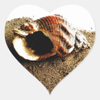 Snäcka i sanden hjärtformat klistermärke