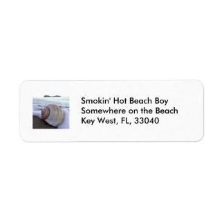 Snäcka strand returadress etikett
