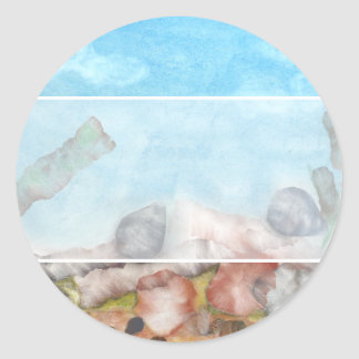 Snäckor under havet runt klistermärke