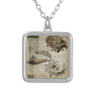 snäckskal för vintage för beachy ordboktryck silverpläterat halsband