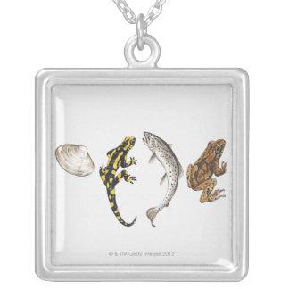 Snäckskal Salamander, lax Silverpläterat Halsband