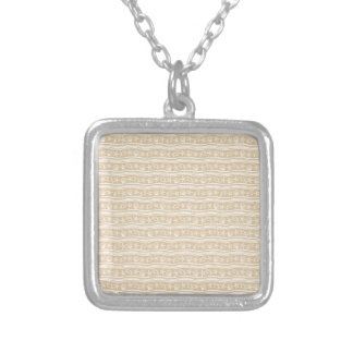 Snäckskalsandbrunt/vitmönster Silverpläterat Halsband