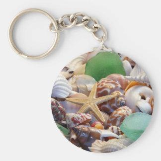 Snäckskalsjöstjärna & strandexponeringsglas Keycha Rund Nyckelring